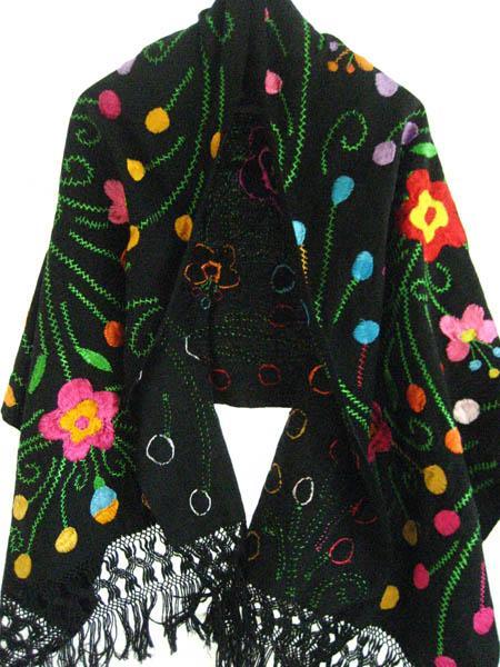 Handmade Rebozo Unique Silk Embroidered