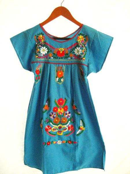 Mexican embroidered Dress Blue mini ethnic