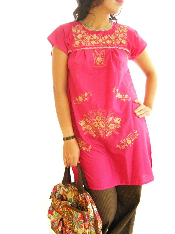 Mexican embroidered Dress Gold & Fuschia Pink