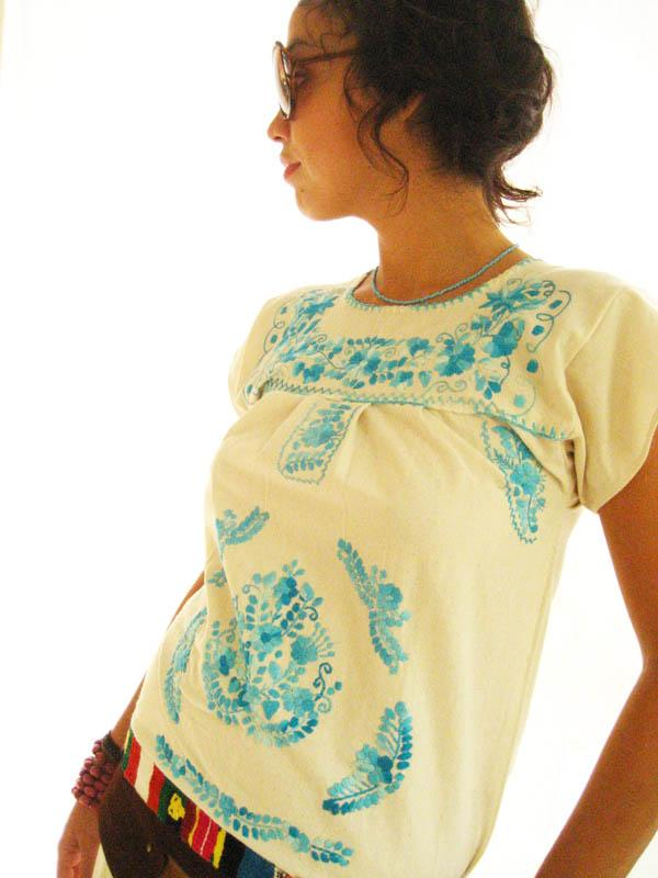 Mexican embroidered Dress Manta Sky blue