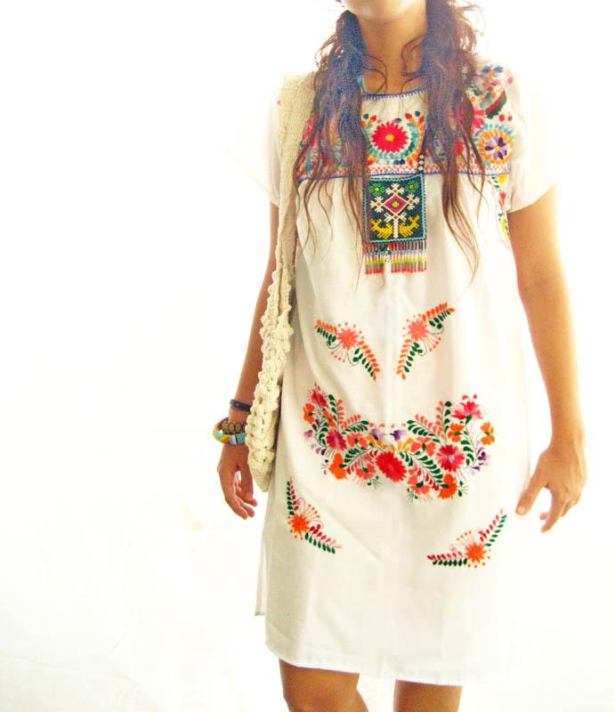 Mexican Embroidered Dress Hippie Boho Chic
