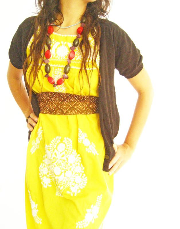 The Mexican Embroidered Dress Lemon Amarillo