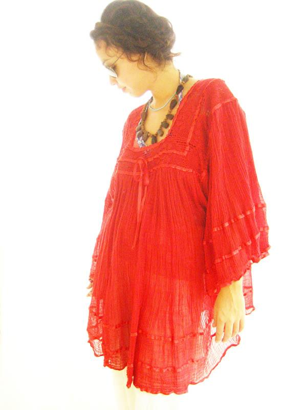Red butterfly crochet soft gauze blouse