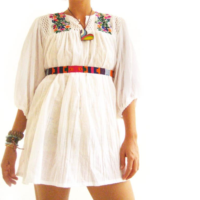 Mexican Spanish embroidered Tunic fairy mini dress top