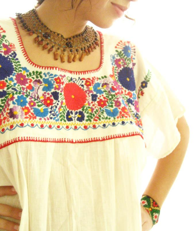 Mexican embroidered Hippie Chic Gauze Natural hippie