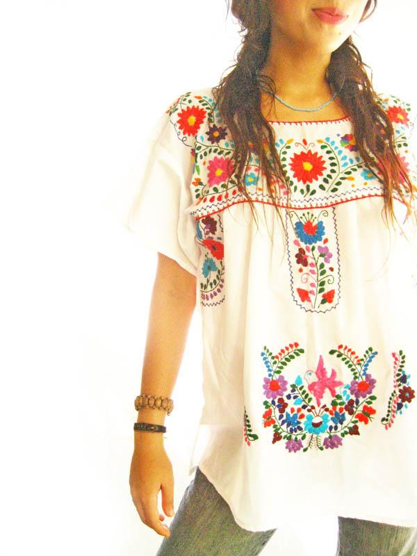White Peace Mexican embroidered blouson top