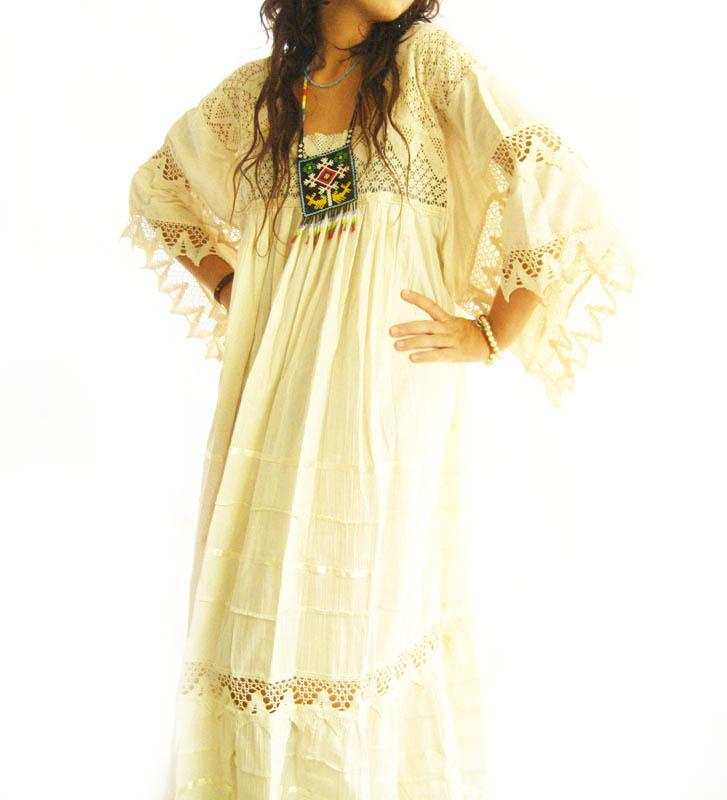Romantic Mexican Dress ethnic Maxi wedding Fiesta