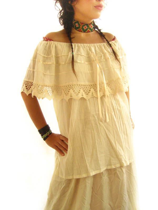 Mexican Diva Lace Off Shoulder blouson mini dress