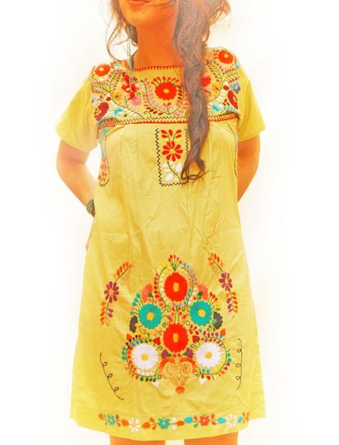 Limon Mexican bohemian ethnic embroidered dress tunic