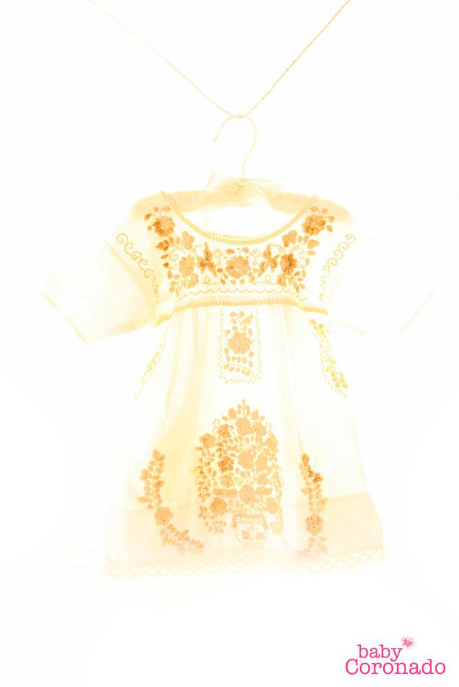 Baby ethnic Mexican puff sleeves dress
