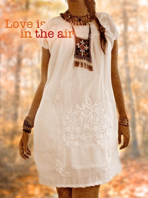 Off white embroidered Ethnic Fairy tunic dress