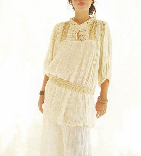 Mexican Gold Blouse Hand Embroidery Gauze Mini Dress