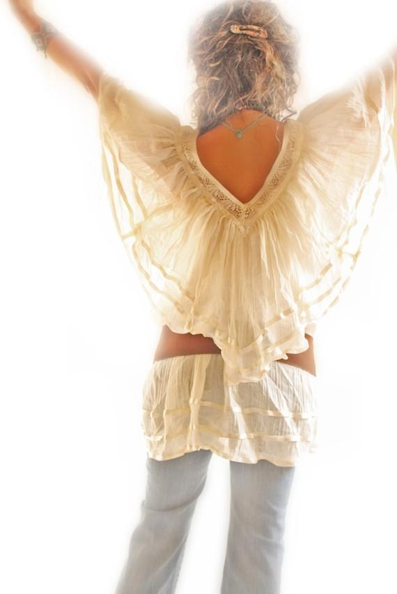 Angel Blouse Mexican Boho Crochet Top V neck