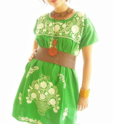 Gold & Jade Mexican embroidered flowers tunic dress