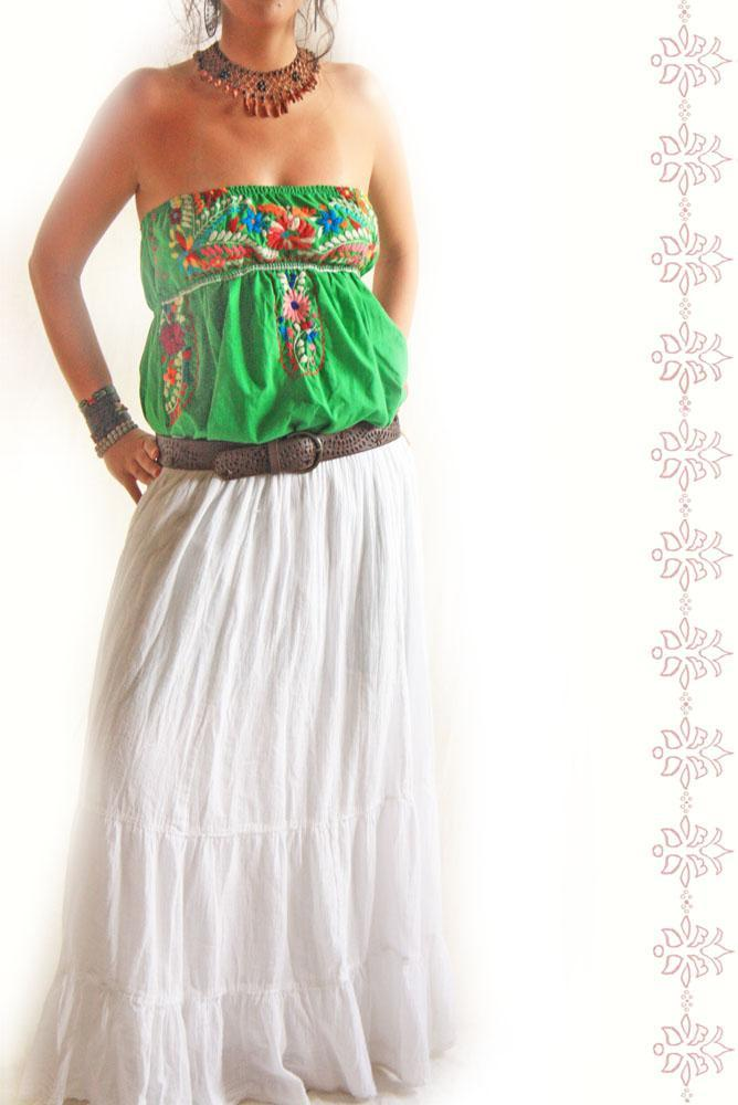 Vintage bohemian off white cotton skirt slip