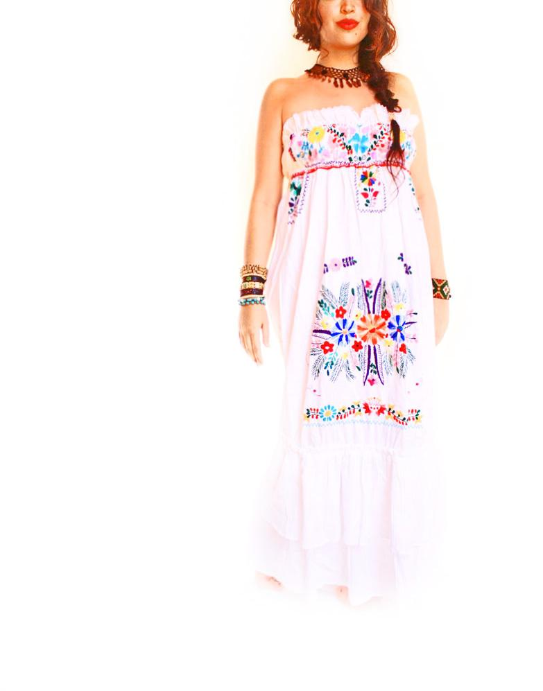 Aire romantic ruffled embroidered bohemian Mexican maxi dress